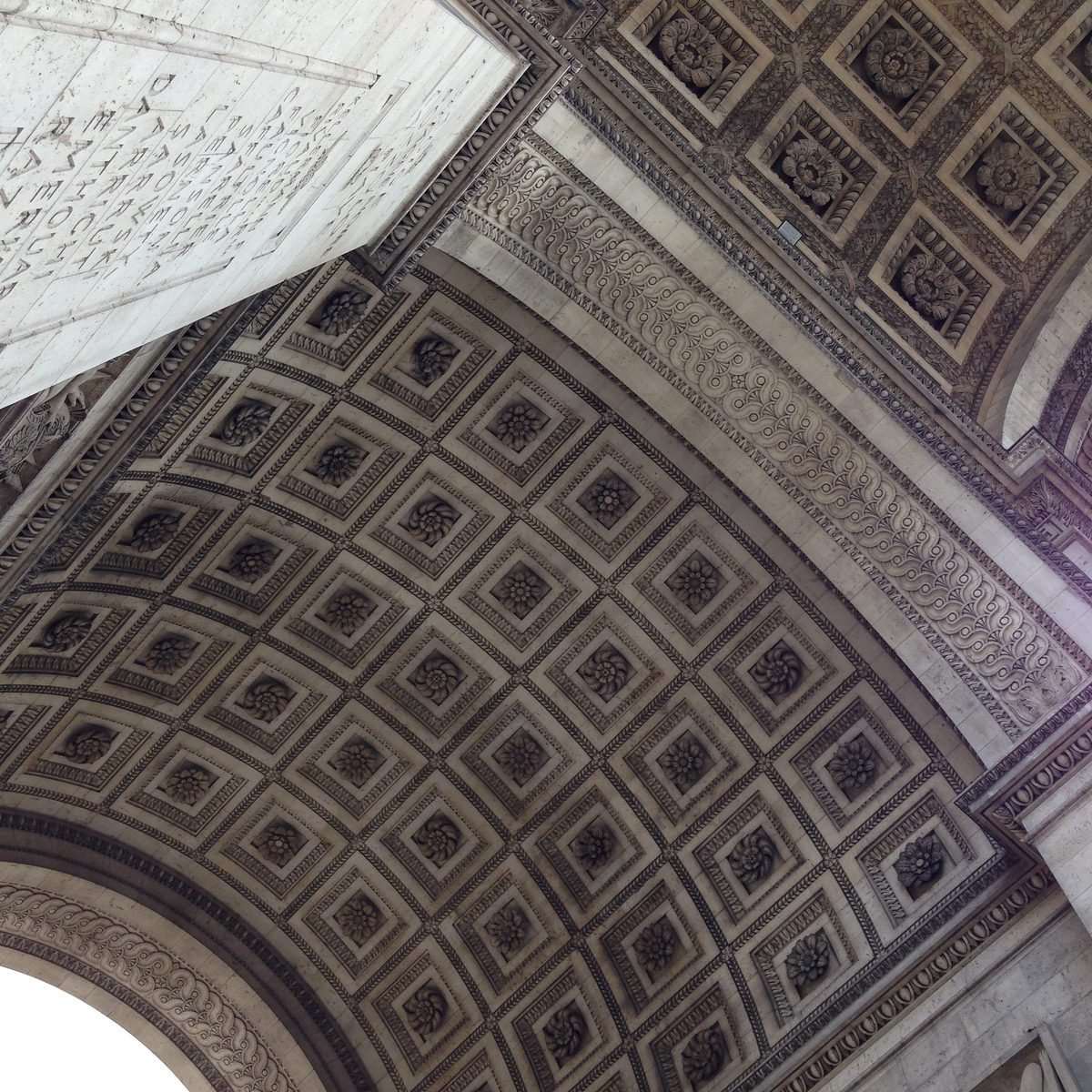 The Beautiful Arched Ceilings of the Arc de Triomphe in Paris, France