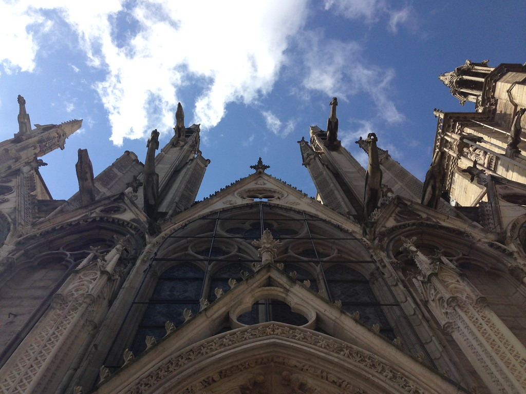 Looking Up at Notre Dame de Paris From the Line to Climb the Towers