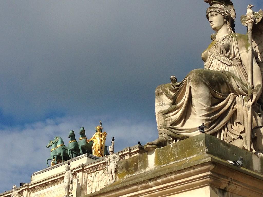 Statue Next to the Arc de Triomphe du Carrousel in Paris