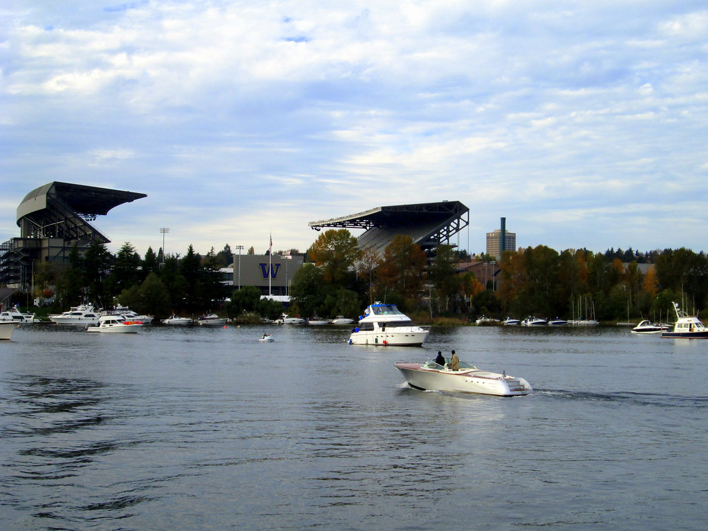 The University of Washington Football Stadium Seen From Lake Washington