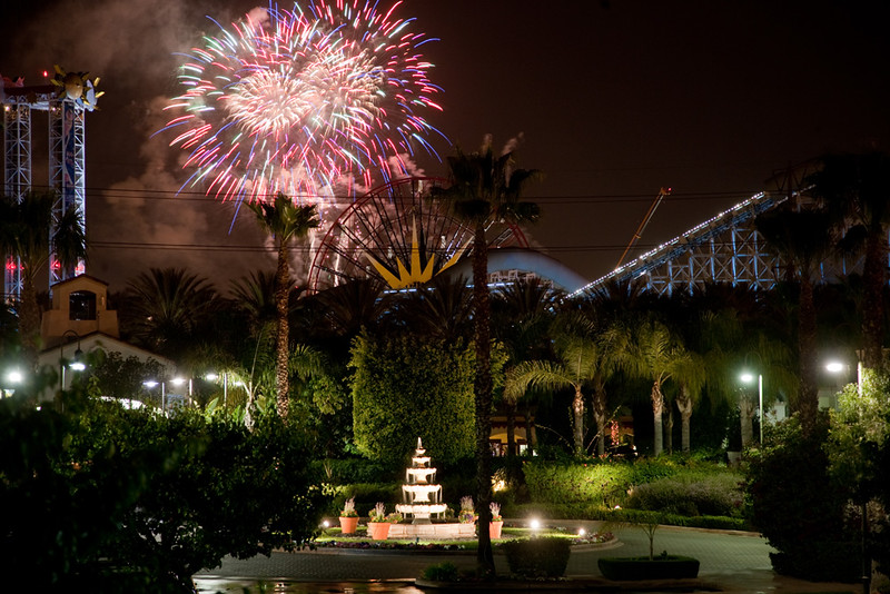 Fireworks Over California Adventure From the Anabella Hotel in Anaheim, California
