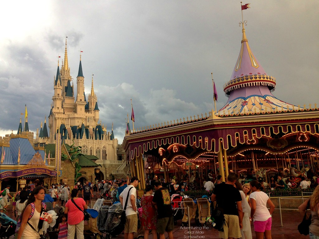 Walt Disney World's Cinderella Castle and the Carrousel Against a Rainy Summer Sky