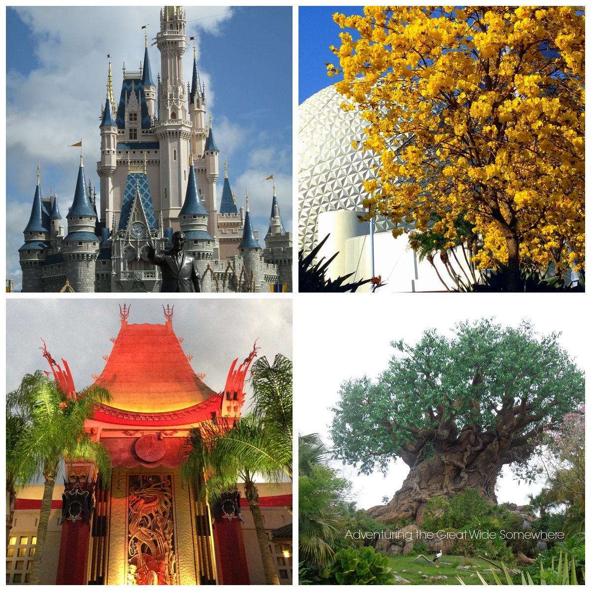 Icons of the Four Walt Disney World Theme Parks - Cinderella Castle, Spaceship Earth, the Great Movie Ride, and the Tree of Life