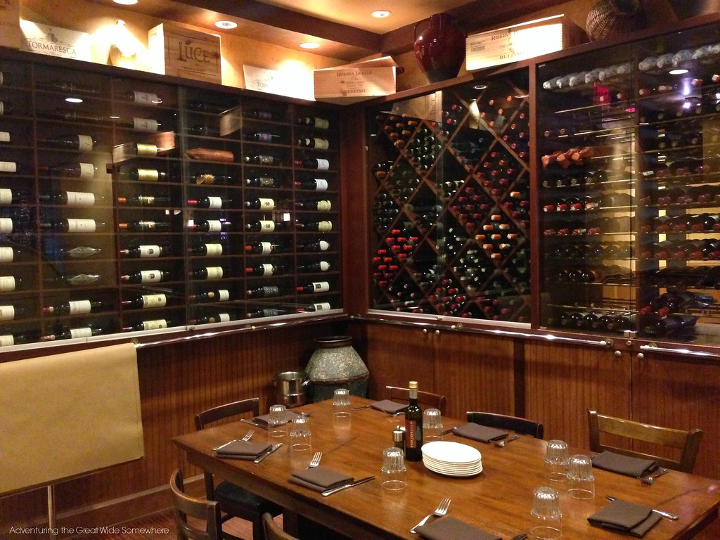 The wine room at Disney Springs Portobello Country Italian Trattoria