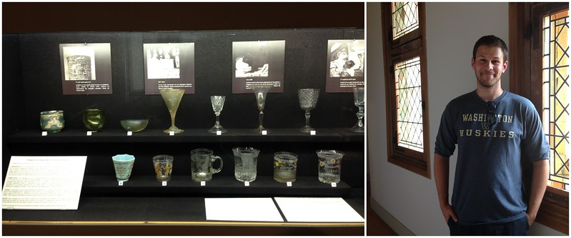 Collection of Antique Wine Glasses at the Burgundy Wine Museum in Beaune, France