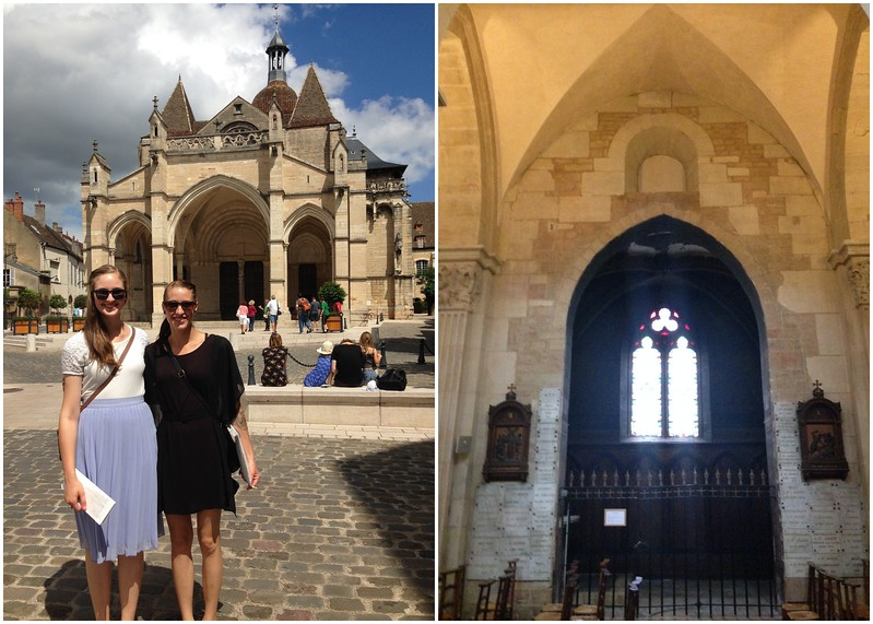 My Sisters in Front of the Basilique Notre Dame de Beaune in France