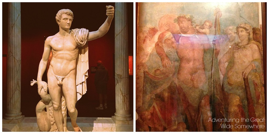 Marble Statue and A Fresco at the Pompeii Exhibit in Seattle