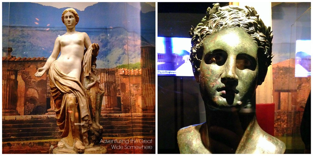 Statue of Venus and Bust of Ptolomy at the Pompeii Exhibit in Seattle, Washington