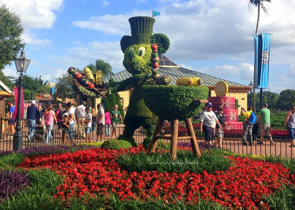 Grilling Mickey Mouse Topiary at the 2015 Epcot International Food and Wine Festival at Walt Disney World