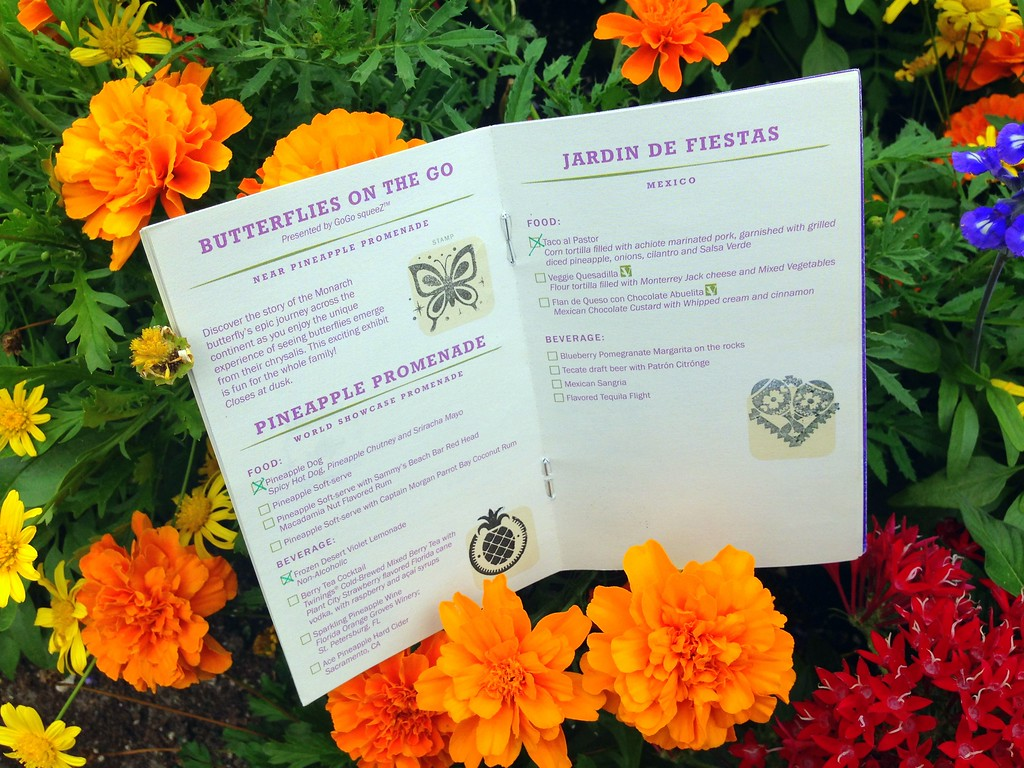 An Open 2015 Epcot International Flower and Garden Festival Passport with Stamps for Each Destination