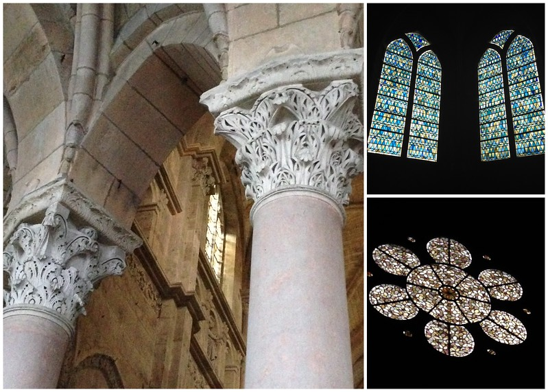 Sculpted Columns and Brilliant Stained Glass Windows at the Langres Cathedral in Langres, France
