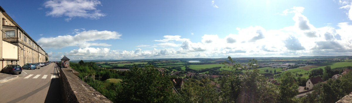 Looking Out Over the Fortified City Walls of Langres, France