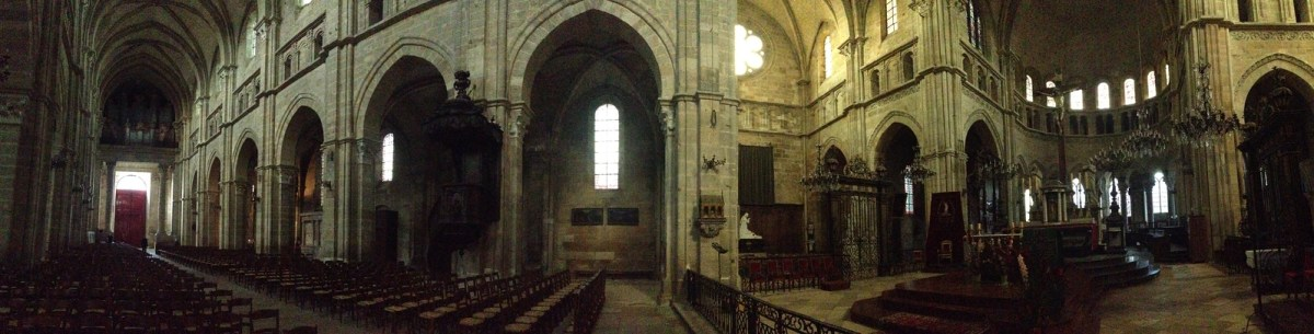 Panoramic Shot of the Interior of the Langres Cathedral in Langres, France