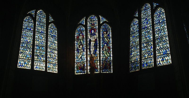 Trio of Stained Glass Windows in the Cathedral of Langres, France