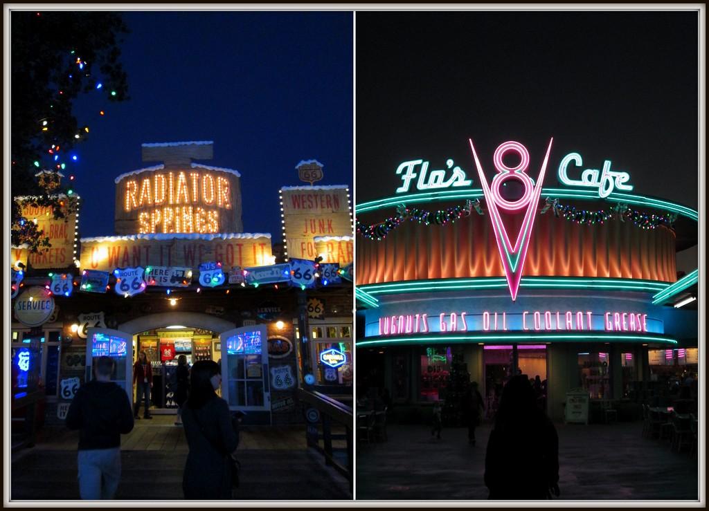 Shops Around Radiator Springs Lit Up for the Night, Disney's California Adventure