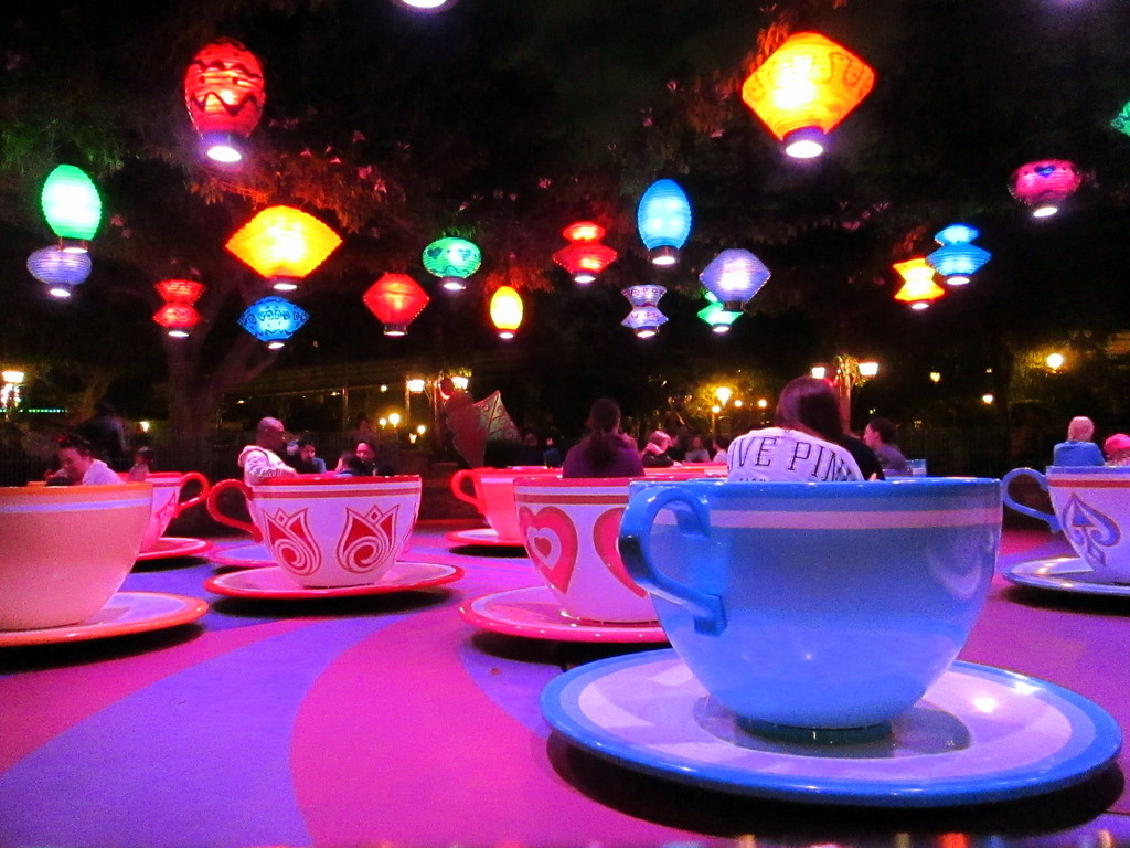 Disneyland Mad Tea Party Teacups at Night