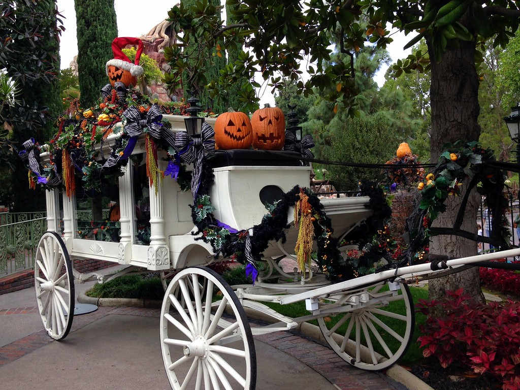 Jack o Lanterns and Other Halloween Touches on the Haunted Mansion Holiday Buggy in California