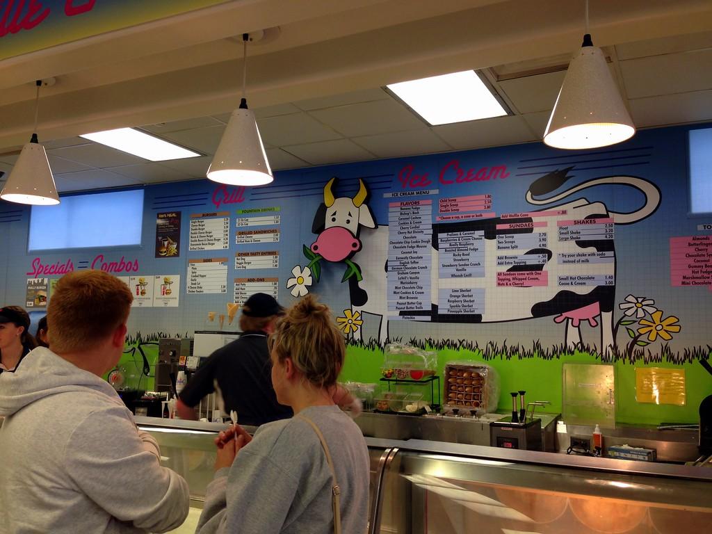 Menu at the BYU Provo Creamery