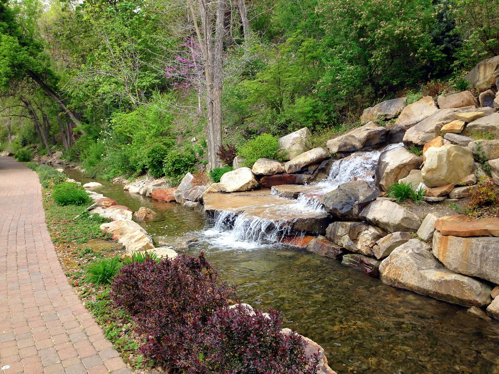 Botanical Walkway and Waterfall on the BYU Provo Campus in Utah