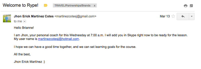 email from Rype teacher