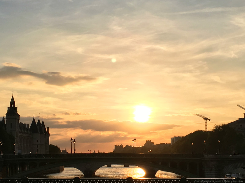 Sunset over the Seine River in Paris, France.
