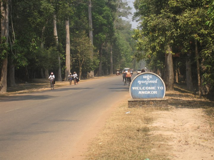 Welcome to Angkor Wat sign as we biked into the temple complex.