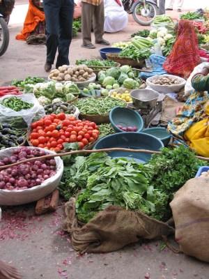 street market vegetables puskar, india