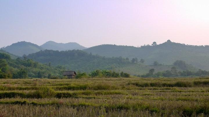 Sunset over the rice paddies near Hongsa, Laos