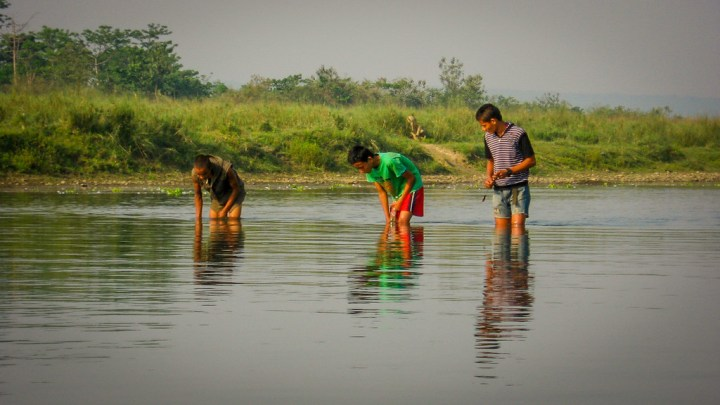 local kids fishing in the waters