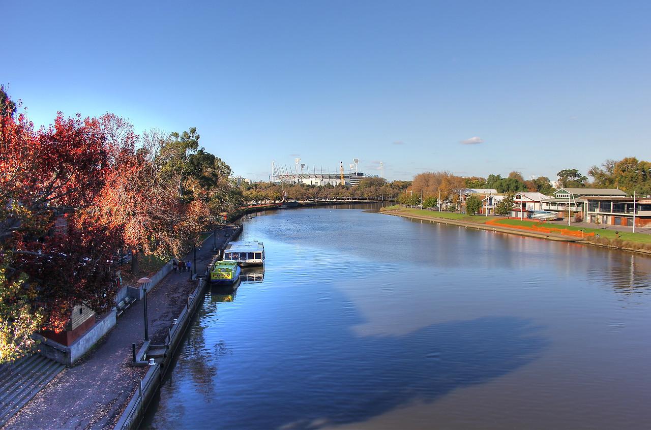 Yarra River and Melbourne Cricket Ground in Melbourne, Australia