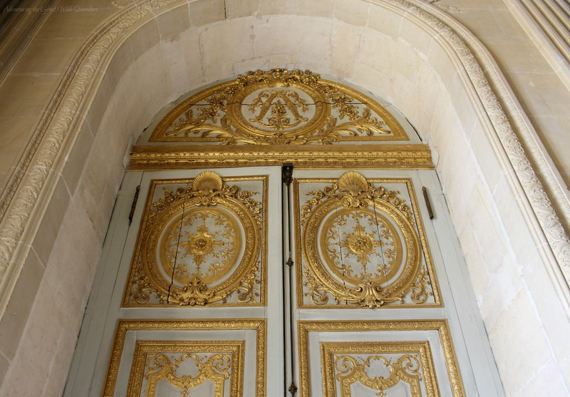 Stunning White and Gold Door Near the Royal Chapel at Versailles