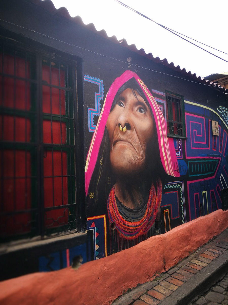 A very life like piece of street art, representing an indigenous woman by the renowned artist Gauche