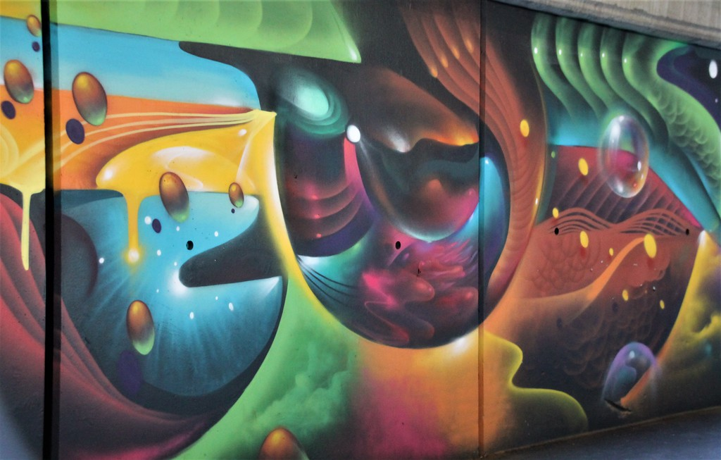 Colorful street art mural Boston, MA