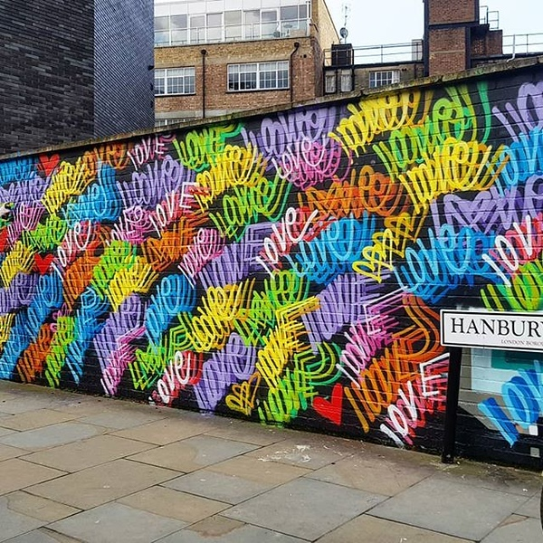 Love mural Hanbury St Brick Lane London by street artist Chris Riggs