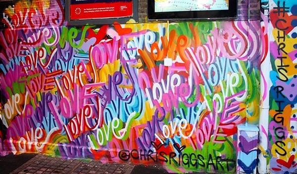 Peace and Love mural London England Camden Town