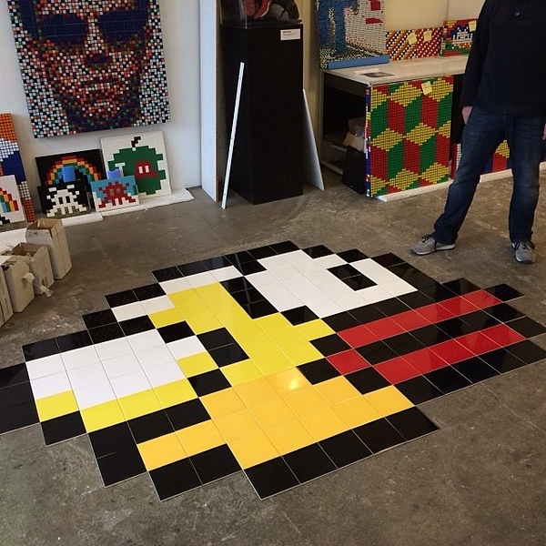 Finished Painted Tiles  - The Story of the Flappy Bird Redo - StreetArtChat.com