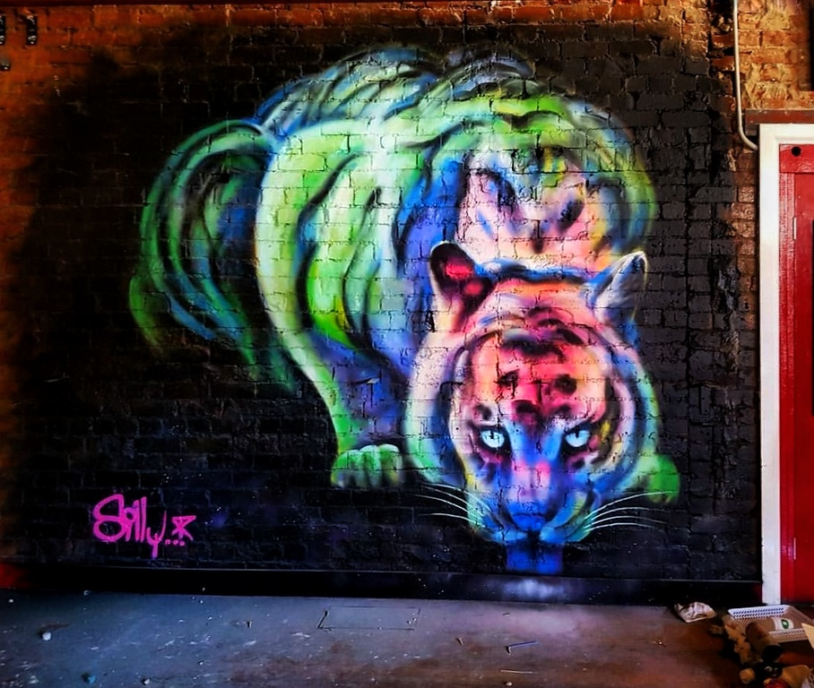 tiger street art by street artist Silly Sully