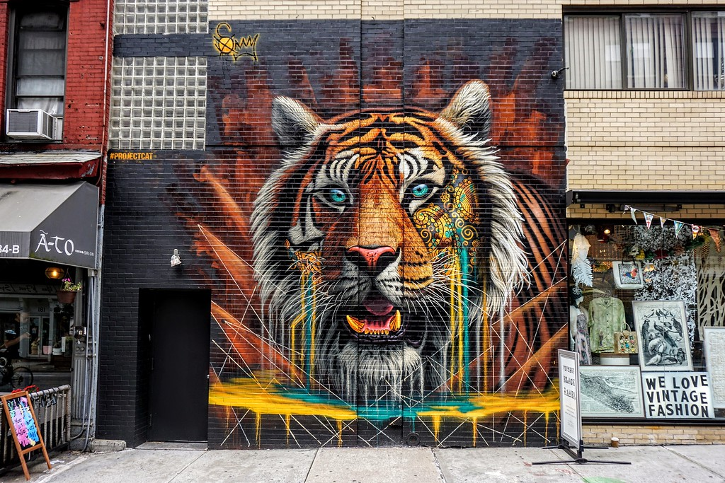 Mural by Sonny from August 2017 street art big cat