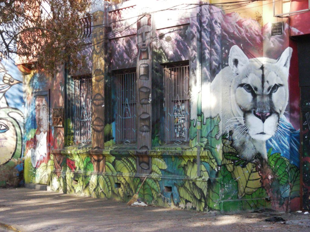 wild cat street art on community center at Plaza Brasil
