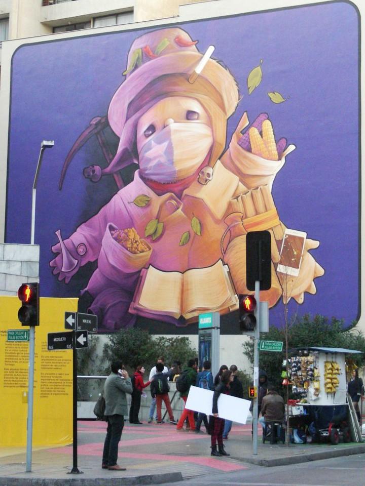 INTI street art mural on city street