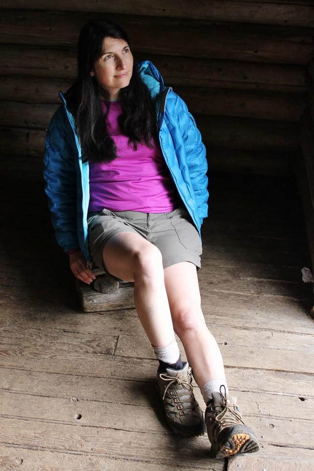 Cathy loving the Guyot Shelter