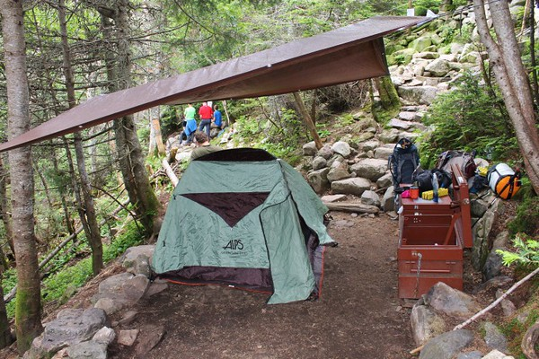 Our tent setup at the Guyot Campsite