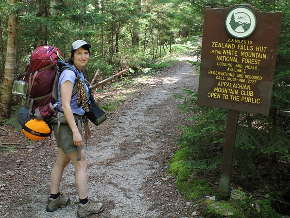 Cathy all set to begin our New Hampshire hike