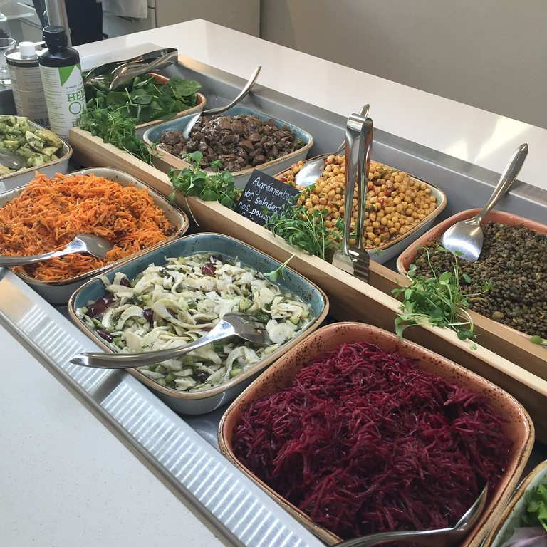 Healthy eats inside the monastery's restaurant