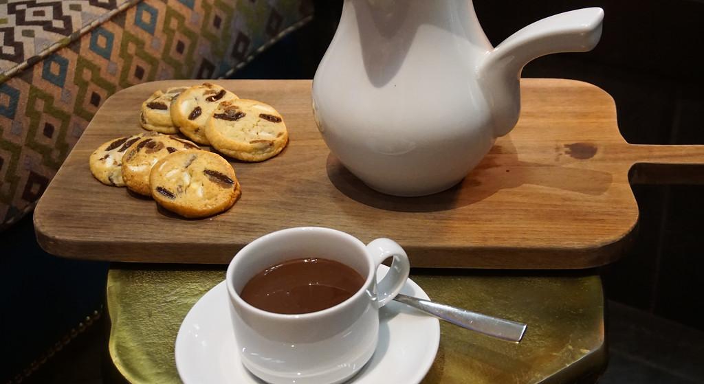 Hot Chocolate at Bar Artefact in Auberge Saint-Antoine in Quebec City.