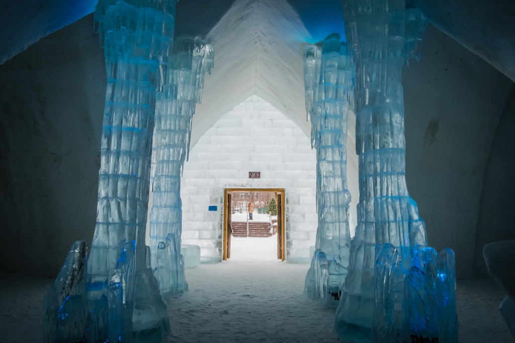 Inside Hotel de Glace in Quebec City