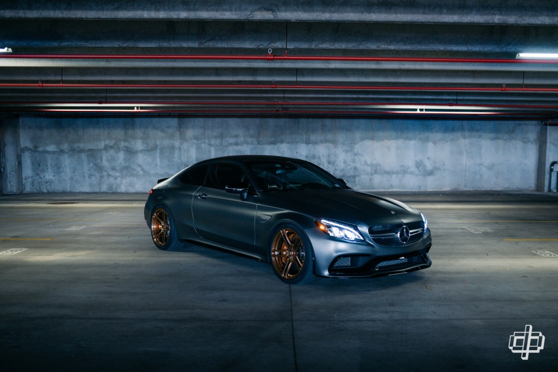 Mercedes AMG C63 S Coupe on Vossen Wheels Houston Automotive Photography