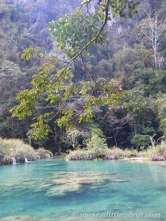 Pools of blue water at Guatemala's pretty waterfalls