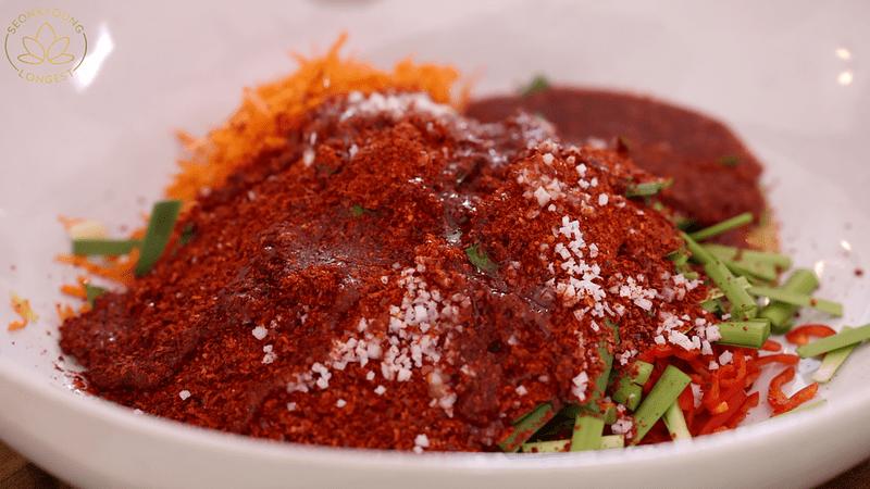 Vegan Cucumber Kimchi - making kimchi sauce