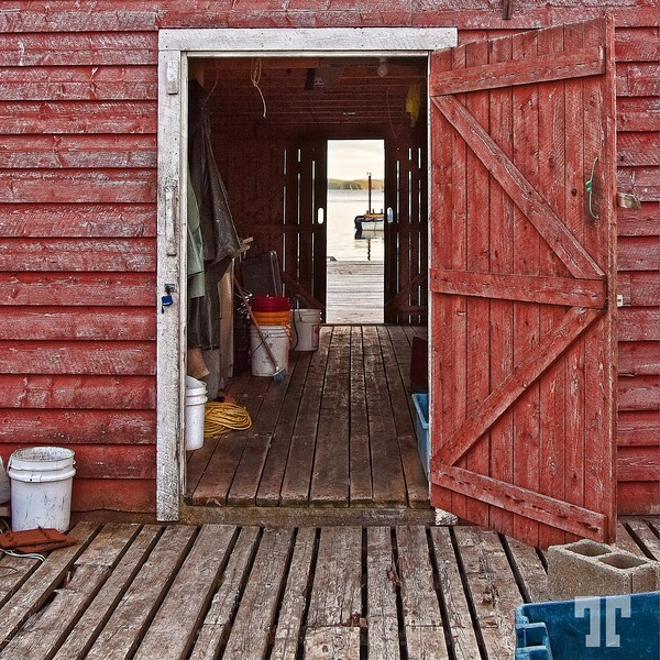 Fisherman's shack open door, Newfoundland, Canada